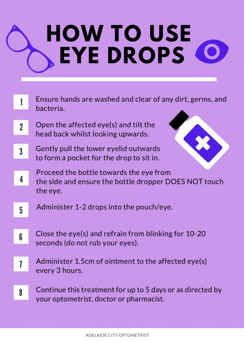Instructions on using eye-drops